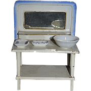Old Doll Miniature Enamel Tin Vanity W/ Dresser Set Soap Bowl Dollhouse