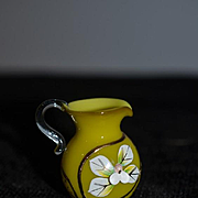 Old Glass Miniature Hand blown Pitcher Dollhouse Doll Applied Flowers