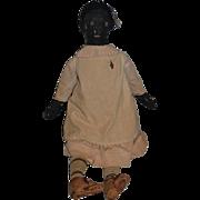 Early Cloth Doll Rag Doll Folk Art Primitive Black Doll WONDERFUL Button Eyes Sewn Features Provenance