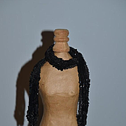 Old Doll Beaded Scarf W/ Fringe Balls Black Beads & Sequins Fashion Doll