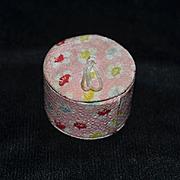 Vintage Doll Miniature Hat Box W/ Fabric Luggage Dollhouse