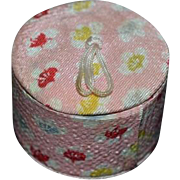 Vintage Doll Miniature Hat Box W/ Fabric Luggage Dollhouse