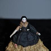 Antique Doll China Head Miniature Original Clothing Dollhouse TINY Wonderful