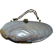 Antique Doll French Fashion Purse Pocketbook Shell w/ Compartments Double Chain