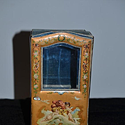 Old Miniature Doll Sedan Cherubs Enamel Handle French Display