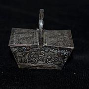 Old Miniature Basket Box Ornate Cherubs W/ Double Lids W/ Handle