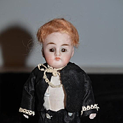 Antique Doll All Bisque Miniature Dollhouse Cabinet Size Wonderfully Dressed