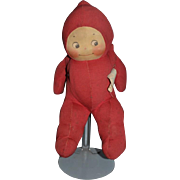 Vintage Doll Cloth Kewpie Rose O'Neill Krueger Cuddle Kuddle Red Cloth W/ Tag SWEET!!