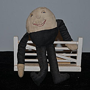 Old Doll Cloth Doll Rag Doll Humpty Dumpty On a Wall