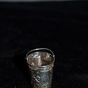 Antique Doll Miniature Sterling Silver Bucket W/ Cherubs For Fashion Doll Dollhouse