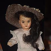 Antique Doll Bisque Oriental Cabinet Size Darling Dressed!!
