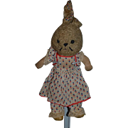 Wonderful Old Cloth Bunny Rabbit Stuffed Animal Doll Friend Musical Oil Cloth Rag Doll Wind Up