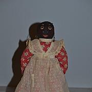 Old Doll Black Cloth Doll Rag Doll Stockinette Wood Feet Primitive