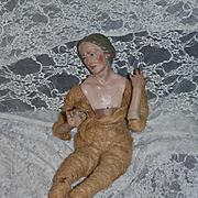 Antique Doll Wood Terra Cotta Terracotta Creche Lady Large Neopolitan
