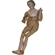 Antique Doll Wood Terra Cotta Terracotta Creche Lady Large Neopolitan
