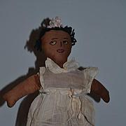 Old Doll Black Cloth Doll Rag Doll Button Eyes SWEET W/ Roller Skates