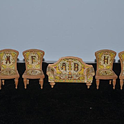 Old Doll Wood Miniature Dollhouse Bliss Furniture Chairs and Sofa Alphabet Litho & Wood