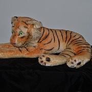 "Old Huge Stuffed Mohair Tiger Steiff ?? Wonderful Laying 29"""