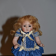 Antique Doll Miniature All Bisque Doll Dressed Cabinet Size Sweet!!