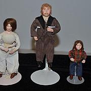 Vintage Doll Set Artist Dolls OOAK Signed Family Miniature
