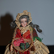 Antique Doll Miniature All Bisque Doll Dressed as Peddler W/ Basket Dollhouse