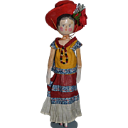 Old Wood Doll Grodnertal W/ Wonderful old Clothing Carved Jointed Dressed!