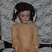 "Antique Doll Huge German Bisque Sweet Face 32"" Big Girl Gorgeous Face Kestner"