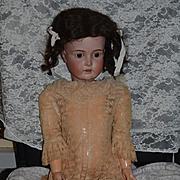 """Antique Doll Huge German Bisque Sweet Face 32"""" Big Girl Gorgeous Face Kestner"""