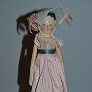 Antique Doll Wood Carved Jointed Grodnertal Dressed Charming