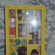 Old Miniature Shadow Box Filled W/ Miniatures Teddy Bear Doll Dolls Toys Diorama