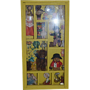 Old Miniature Shadow Box Filled W/ Miniatures Teddy Bear Doll Dolls Toys Diorama