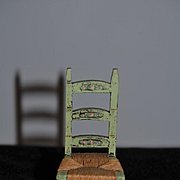 Vintage Doll Tynietoy Chair Cane Bottom Ladder Back Painted Chair Miniature Dollhouse