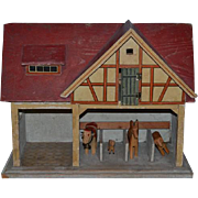 Old Doll Miniature Wood Stable Barn Gottschalk For Dollhouse W/ Animals Carved Wood Animals