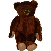 """Old Teddy Bear Mohair Doll Friend Tin Eyes Big Teddy Bear Jointed  25"""" Tall"""
