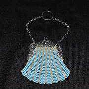 Old Doll Purse Beaded W/ Hook for Chatelaine French Fashion Size