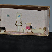Vintage Doll Diorama W/ Frozen Charlotte Bathroom Set TOO CUTE!