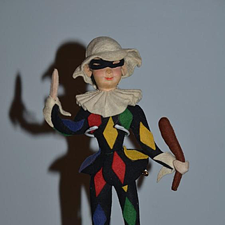 Old Cloth Felt Doll Jester Unusual Character