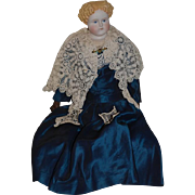 Old 1870's Doll Parian China Head Blonde with Center Part and Curls Large