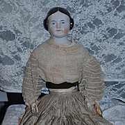 Antique Doll China Head LARGE Covered Wagon Old Body Wonderful