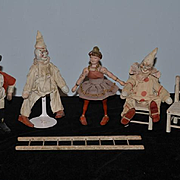 Antique Doll Wood Schoenhut Humpty Dumpty Circus Dolls Clown Chairs ladder & More