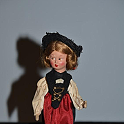Old Doll Wind Up Composition in Original Costume Walking Doll German Mechanical