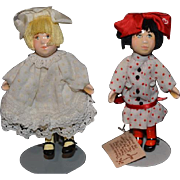 Doll Miniature Artist Dolls Set Small People By Cecily Two Dolls Dollhouse