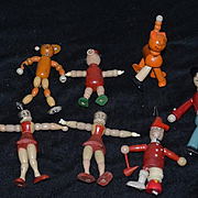 Old Wood Doll Set Jaymar Betty Boop Soldier Cat Pig Sandy Jointed