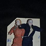 Antique Doll Miniature Dollhouse Couple Lady Man Bisque