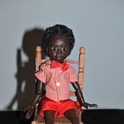 """Vintage Doll Judith Condon Black Artist Doll Jointed NIADA  """"Leoroy"""" Wonderful Sculpture Signed Glass Eyes W/ Old Miniature Chair"""