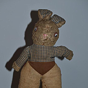 Old Cloth Rabbit Bunny Adorable Doll Friend Stuffed Animal