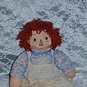 Old Cloth Doll Raggedy Ann Button Eyes Wonderful