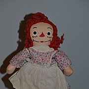 Wonderful Old Raggedy Ann Cloth Doll Johnny Gruelle's Georgene Novelties, Inc. W/ Tag