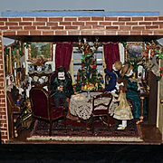 Wonderful Doll Miniature Dollhouse Diorama Christmas Scene w/ Doll House is PACKED Full of Miniatures & Dolls Rare Artist