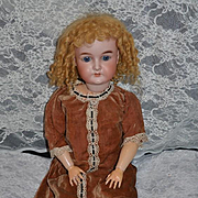 """Antique Doll Bisque Sweet W/ French Mohair Wig Carl Hartman 25"""" Tall"""